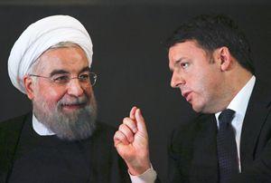 Il presidente iraniano Rouhani con il premier Renzi.