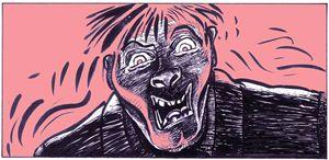 Il disegno che Renato Ciavola, illustratore e cartoonist fabrianese, ha realizzato di notte durante il terremoto.