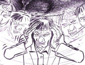 Un altro disegno di Renato Ciavola sul terremoto, realizzato come porzione di una storia non pubblicata.