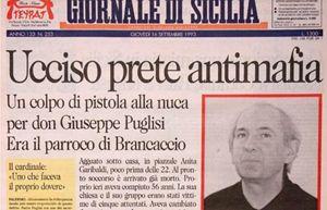 la prima pagina del Giornale di Sicilia con la notizia dell'assassinio di padre Puglisi