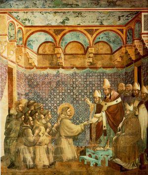 Giotto, Innocenzo III conferma la Regola francescana (1290-1295), Basilica superiore di Assisi