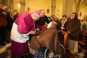 Monsignor Matteo Maria Zuppi, arcivescovo della diocesi di Bologna, nel santuario di Bocca di Rio .