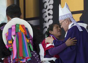 Papa Francesco in Chiapas (Messico). Foto Ansa.