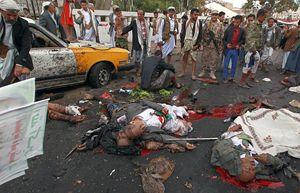 Civili uccisi dai bombardamenti in Yemen.