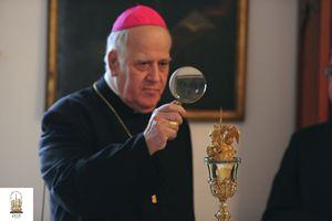 Monsignor Raffaele Calabra osserva la Sacra Spina durante la ricognizione del 13 febbraio scorso. Per gentile concessione della diocesi.