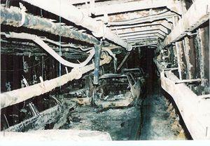 L'interno del Moby Prince, totalmente bruciato.