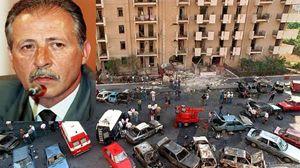 Paolo Borsellino e la scena dell'attentato il 19 luglio 1992, in via D'Amelio.