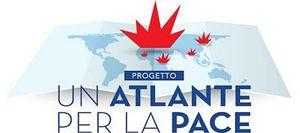"""Il logo del progetto """"Un Atlante per la pace"""". In copertina: foto di Roberto Brancolini."""