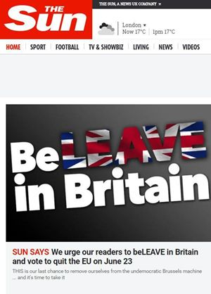 The Sun invita a votare per lasciare l'Unione europea