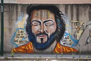 Un murales su Bud Spencer a Napoli.