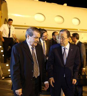 L'arrivo a Cuba del Segretario generale delle Nazioni Unite, Ban Ki-moon, per la firma del cessate-il-fuoco tra Governo colombiano e Farc. Foto Ansa.