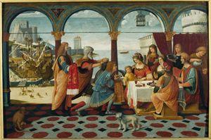 """""""Enea alla corte di Didone"""" di Bernardino de' Donati, una delle opere esposte nella mostra """"Oltre. In viaggio con cercatori, fuggitivi, pellegrini"""", aperta a Illegio fino al 9 ottobre."""