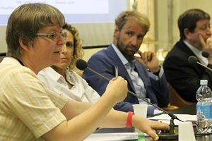 """Suor Gabriella Bottani alla conferenza stampa di presentazione della campagna """"Gioca per la vita""""."""
