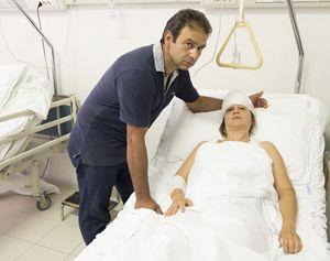 Arcangela con il marito Giovanni in ospedale ad Andria (foto Cosmo Laera)