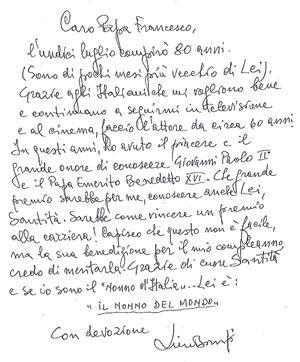 La lettera autografa di Lino Banfi