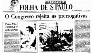 Un quotidiano brasiliano dell'epoca riporta in prima pagina la vicenda dell'espulsione di don Vito.