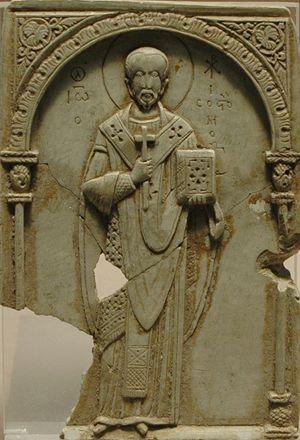 Giovanni Crisostomo, bassorilievo bizantino dell'XI secolo, Musée du Louvre, Parigi
