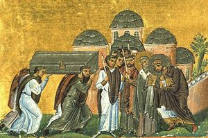 """La traslazione delle reliquie Giovanni Crisostomo nella chiesa dei Santi Apostoli. Miniatura dal """"Menologion"""" di Basilio II"""