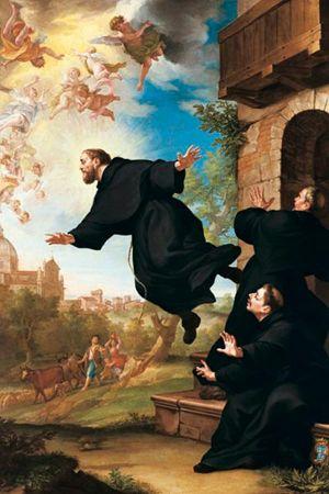 San Giuseppe da Copertino si eleva in volo alla vista della Basilica di Loreto, dipinto di Ludovico Mazzanti