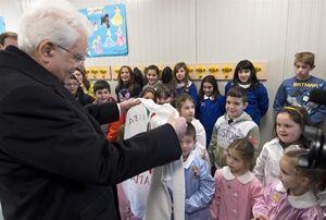 Il presidente della Repubblica Sergio Mattarella incontra i bambini nelle scuole di Amatrice