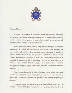 La letttera del Papa ai detenuti del carcere di padova