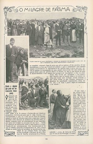 Una pagina della rivista Ilustração Portuguesa del 29 ottobre 1917 in cui si pubblicano foto che mostrano la folla mentre osserva il 'miracolo del sole'.
