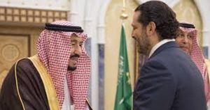 Il primo ministro libanese dimissionario Saad Hariri con il re Salman dell'Arabia Saudita