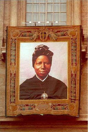 L'icona della Santa durante la canonizzazione in piazza San Pietro del 1° ottobre 2000