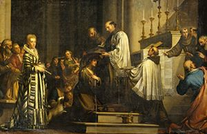 Santa Margherita riceve l'abito di terziaria, dipinto di Sante Pacini (XVIII secolo).