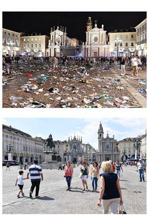 Torino. In questa immagine dell'agenzia Ansa, piazza San Carlo come si presentava nella tarda serata di sabato 3 giugno e com'era ieri, domenica 4 giugno.