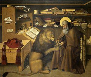 Colantonio (XV secolo): san Girolamo nello studio  col leone. Napoli, Museo di Capodimonte. Una leggenda racconta che al monastero dove dimorava san Girolamo si presentò un leone con una zampa ferita. Invece di scappare via impaurito come i suoi compagni, il santo curò l'animale che, grato, si ammansì e rimase a vivere con lui.