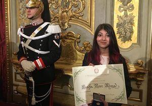 """Nazifa Noor Ahmad al Quirinale con l'attestato d'onore di """"Alfiere della Repubblica"""""""