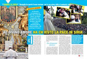 Le pagine del servizio di Maria con te sulla visita di papa Francesco al Divino Amore