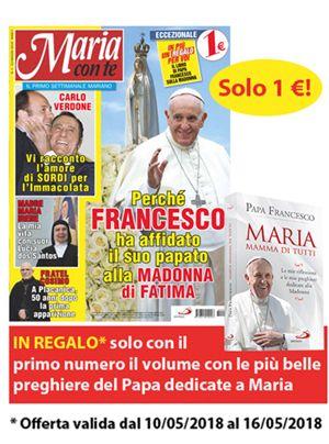 """La copertina del libro di papa Francesco in regalo solo con il primo numero della rivista """"Maria con te"""", da oggi in edicola e in parrocchia"""