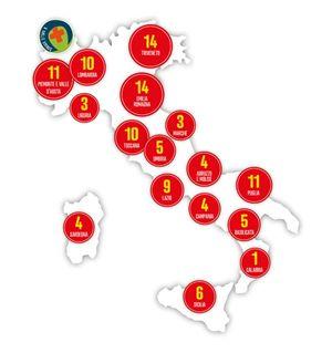 La mappa con i 114 itinerari proposti dalle Diocesi
