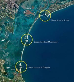 Le tre bocche di porto di Venezia.
