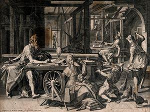 San Paolo ospite nella casa di Priscilla e Aquila, incisione, Jan Sadeler il Vecchio (immagine Wikimedia Commons)