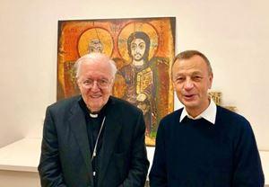 L'arcivescovo di Torino, monsignor Cesare Nosiglia (75 anni, a sinistra) con il Priore della Comunità di Taizé, frère Alois, 65. Foto di Luca Ramello.