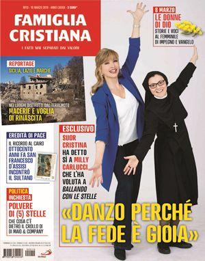 La copertina di Famiglia Cristiana con suor Cristina Scuccia (30 anni) e Milly Carlucci (64)