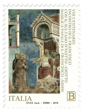Un francobollo commemorativo uscito in occasione degli 800 anni dell'incontro tra san Francesco e il sultano (settembre 1219). Foto Ansa (è dell'agenzia Ansa anche la foto di copertina).