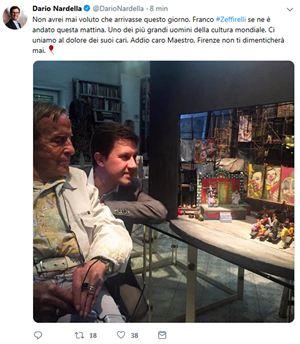 Il cordoglio del sindaco di Firenze Dario Nardella per la morte di Zeffirelli (Ansa)