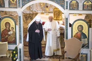 Papa Francesco e Sua Beatitudine Sviatoslav Shevchuk, arcivescovo maggiore di Kyiv– Halyc. Foto Ansa.