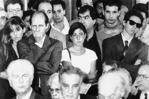 Salvatore Borsellino (secondo da sinistra) , fratello di Paolo , il magistrato ucciso in un agguato mafioso il 19 luglio 1992 , tra i nipoti Lucia, Fiammetta e Manfredi.