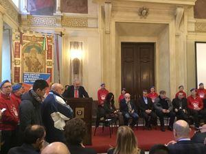 Un momento della cerimonia a Palazzo Marino