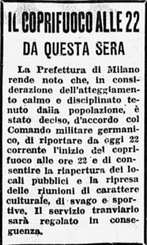 L'avviso pubblicato sul Corriere della Sera del 22 novembre 1943