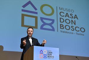Don Angel Fernandez Artime, spagnolo, 59 anni, Rettor maggiore dei salesiani durante l'iinaugurazione del Museo casa Don Bosco. Foto Ansa.