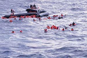 Un'immagine del naufragio dove ha perso la vita Joseph, il piccolo di 6 mesi.