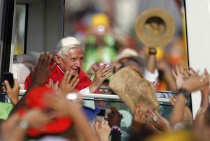 Papa Benedetto XVI alla Gmg di Madrid, il 21 agosto 2011. Foto Reuters.,