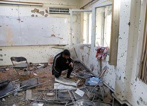 Un'aula dell'Università di Kabule dove è avvenuta la strage.