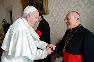Papa Francesco, 83 anni, con Sua Beatitudine il cardinale Louis Raphaël I Sako, 72, Patriarca di Babilonia dei Caldei, in un'udienza del 7 febbraio 2020. Foto Ansa.